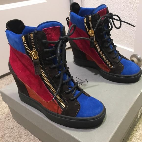 23e56d31d1df4 Giuseppe Zanotti Shoes | Multicolor Wedge Sneakers | Poshmark